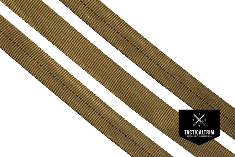 Nylon Tubular Gurtband Coyote Brown 25mm, gewebt, Meterware