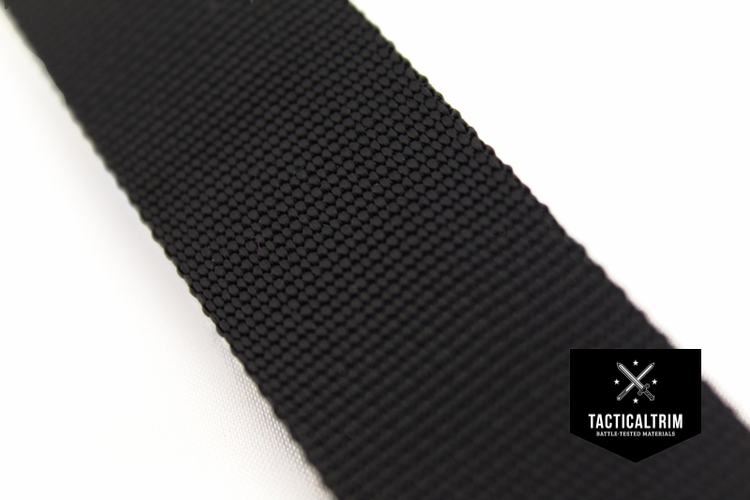 Polyamid Webbing Black 0.75, woven, CUSTOM CUT