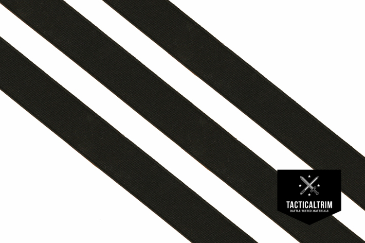 Polyester Elastic Webbing Black 40mm, woven, CUSTOM CUT