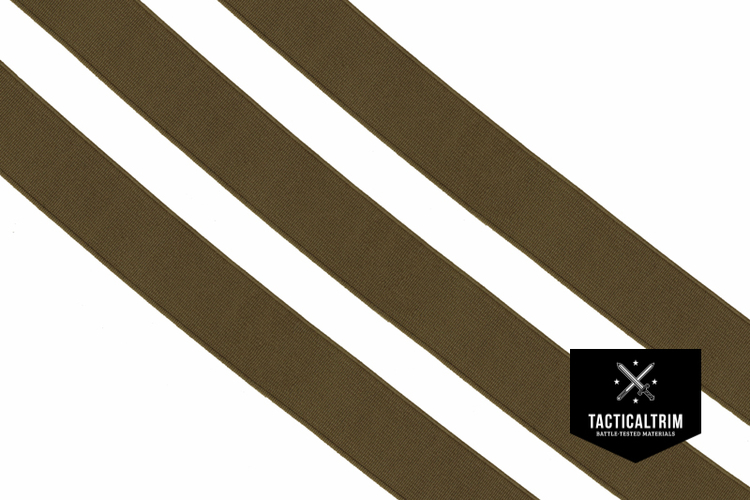 Polyester Elastic Webbing Tan 499 40mm, woven, CUSTOM CUT