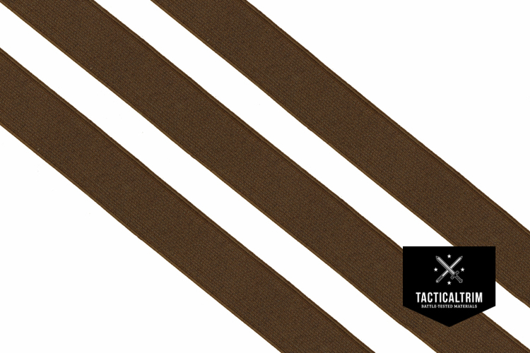 Polyester Elastic Webbing Coyote Brown 40mm, woven, CUSTOM CUT