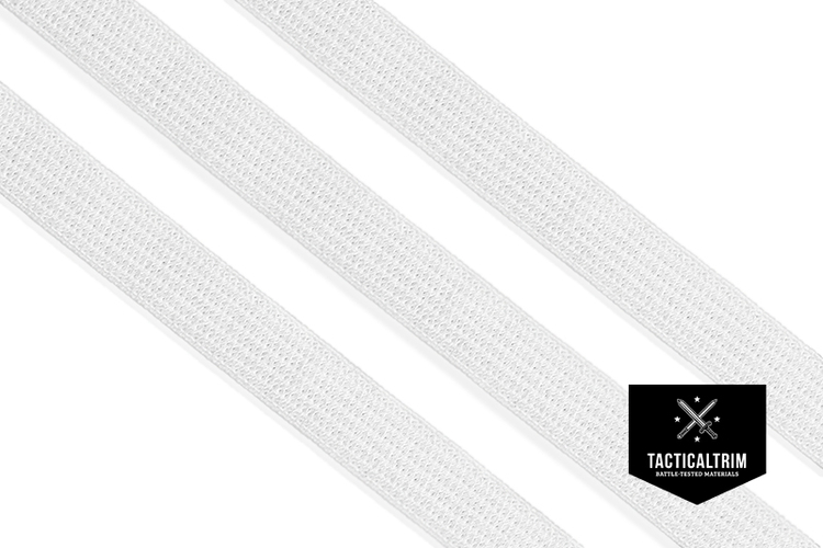 Polyester Elastic Webbing White 10mm, woven, for COVID19 face masks